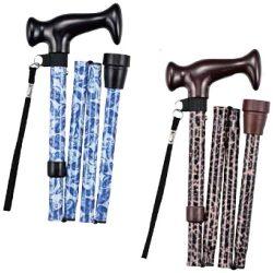 Купить трость складная с Т-образной ручкой, ремешок, черный рисунок TN-133 Тривес