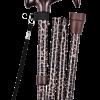 Купить трость складная с Т-образной ручкой, ремешок, черный рисунк TN-133 Тривес